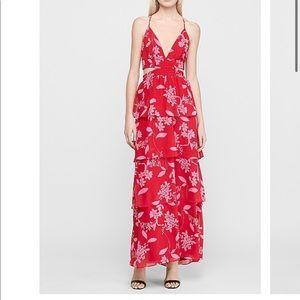 Floral Tiered Twist Back Maxi Dress